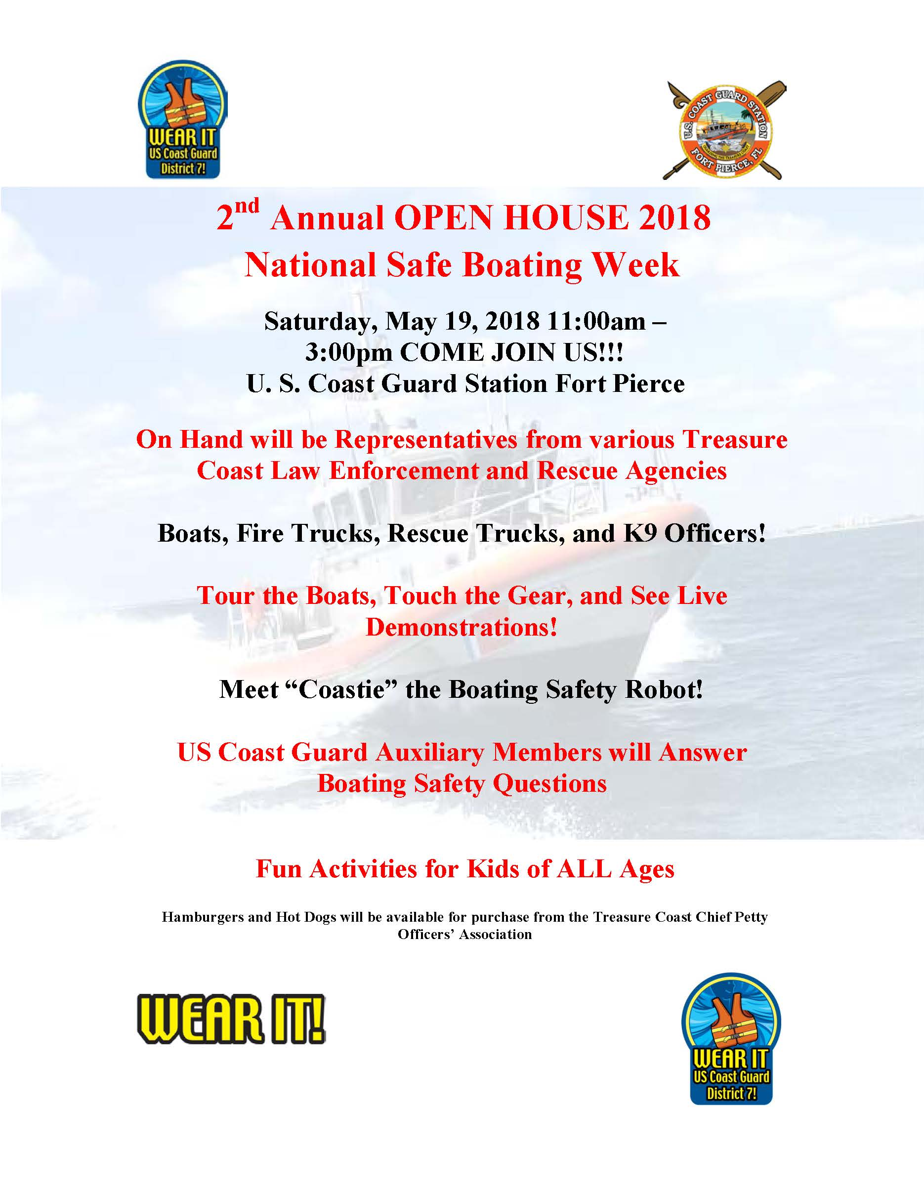 2nd Annual OPEN HOUSE 2018 National Safe Boating Week
