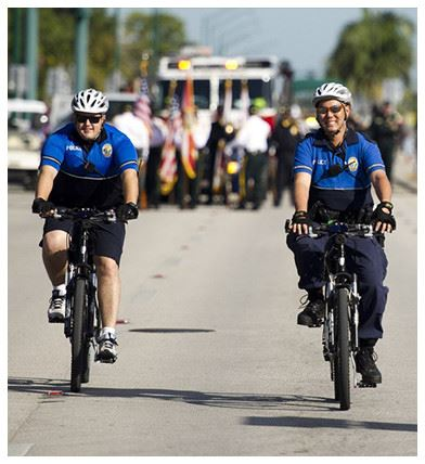 Officers on bicycles